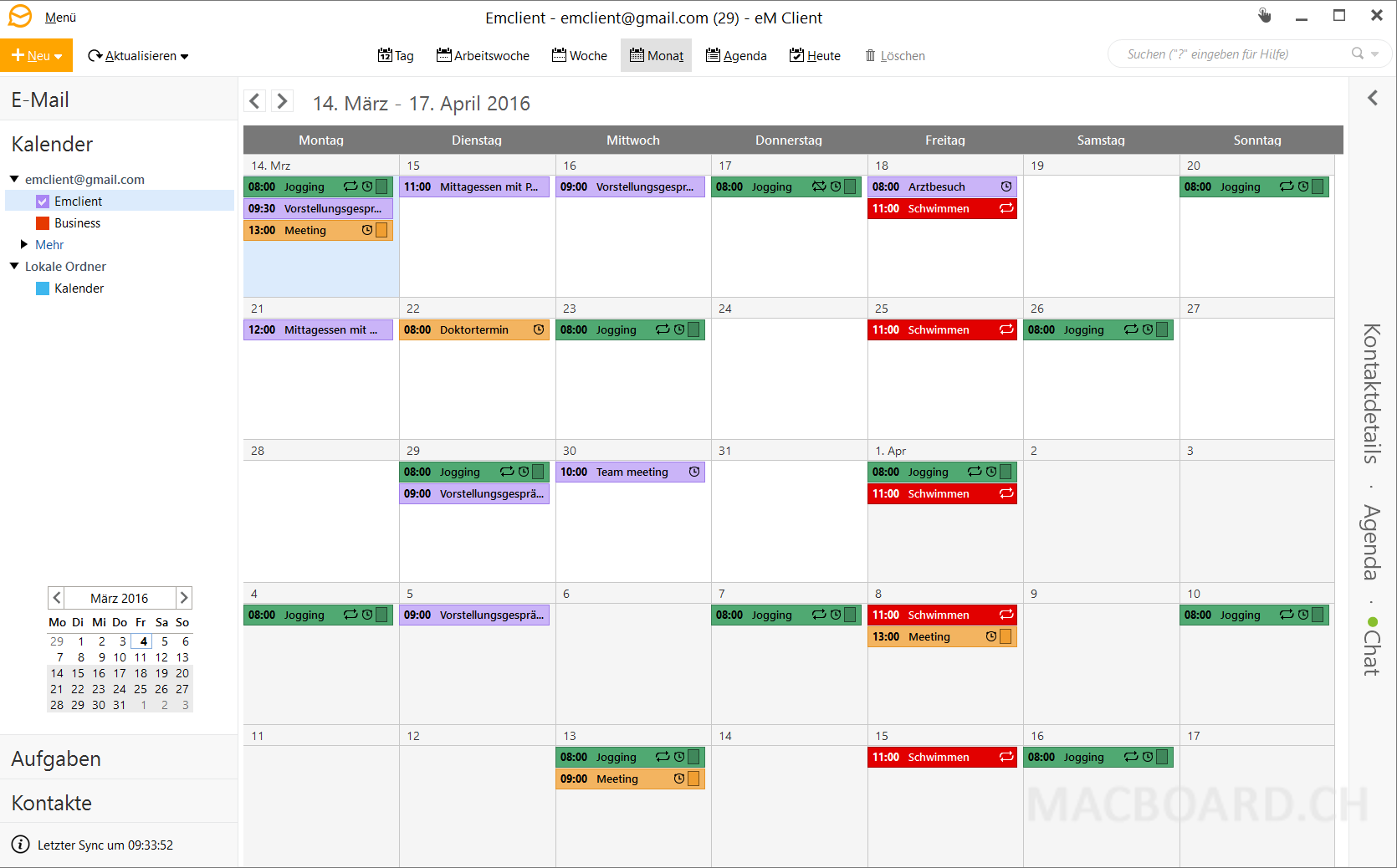 eM Client Mac Kalender