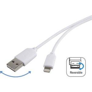 Renkforce USB 2.0 Anschlusskabel [1x USB 2.0 Stecker A - 1x Apple Lightning-Stecker] 1.00 m Weiß beidseitig verwendbarer