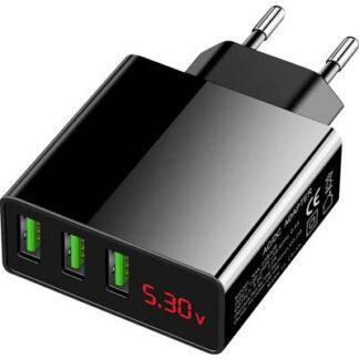 USB-Ladegerät 3-Fach Handy Ladegerät mit Schnellladefunktion USB Schwarz