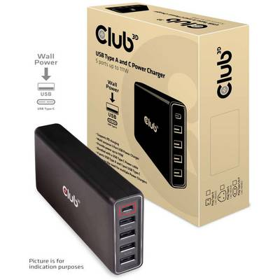 club3D CAC-1903EU USB-Ladestation Steckdose USB-C™ Buchse, USB 2.0 Buchse A