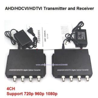 1080P HD AHD CVI TVI Fiber optical video converter, 4 Channel Video Optical Conveter Single Mode 20KM