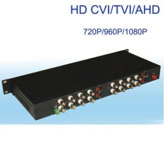 1080P HD CVI AHD TVI 16 CH Video Fiber Optic Media Converters with RS485 - for 1080p 960p 720p AHD CVI TVI Coax. HD Cameras CCTV