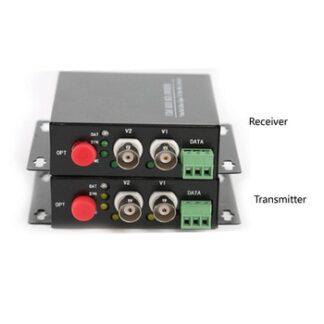 2 CH Video Fiber Optical Media Converters -2 BNC Transmitter Receiver RS485 Data Single mode 20Km For CCTV Surveillance system