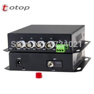 4CH AHD/CVI/TVI Video Digital Optical Converter with 1CH RS485 data Singelmode single fiber FC port 20KM Fiber Extender