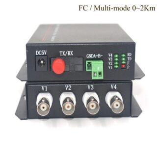 4CH Video Fiber optic Media Converter (Tx / Rx) - Multi mode 2Km Transmitter Receiver for Security System CCTV