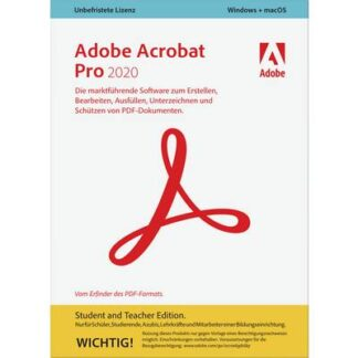 Adobe Acrobat Pro 2020 Student and Teacher Edition Vollversion, 1 Lizenz Windows, Mac PDF-Software