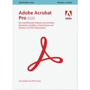 Adobe Acrobat Pro 2020 Vollversion, 1 Lizenz Windows, Mac PDF-Software