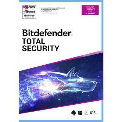 BitDefender Total Security 10 Geräte/18 Monate Windows, Mac, iOS, Android Antivirus
