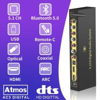 HD820B 5.1CH Audio Converter Decoder Bluethooth 5.0 DAC Converter HDMI ARC SPDIF Coaxial to RCA DTSHD AC3 FLAC APE 4K*2K 192khz