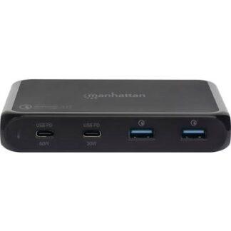 Manhattan 102247 USB-Ladestation Steckdose Ausgangsstrom (max.) 3 A 4 x USB 3.0 Buchse A, USB-C™ Buchse (Power Delivery)