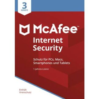 McAfee Internet Security 3 Device 2021 (Code in a Box) Jahreslizenz, 3 Lizenzen Windows, Mac, Android, iOS Antivirus,