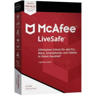 McAfee LiveSafe Vollversion, 1 Lizenz Windows, Mac, Android, iOS Antivirus, Sicherheits-Software