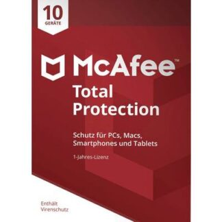 McAfee Total Protection 10 Device 2021 (Code in a Box) Jahreslizenz, 10 Lizenzen Windows, Mac, Android, iOS Antivirus,