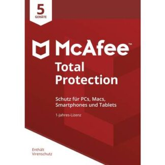 McAfee Total Protection 5 Device 2021 (Code in a Box) Jahreslizenz, 1 Lizenz Windows, Mac, Android, iOS Antivirus,