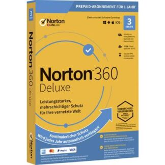 Norton Life Lock 360 DELUXE 25GB GE 1 USER 3 DEVICE 12MO Jahreslizenz, 3 Lizenzen Windows, Mac, Android Antivirus