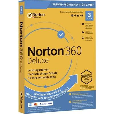 Norton Life Lock 360 DELUXE 25GB GE 1 USER 3 DEVICE 12MO Jahreslizenz, 3 Lizenzen Windows, Mac, Android Antivirus