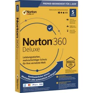 Norton Life Lock 360 DELUXE 50GB GE 1 USER 5 DEVICE 12MO Jahreslizenz, 5 Lizenzen Windows, Mac, Android Antivirus