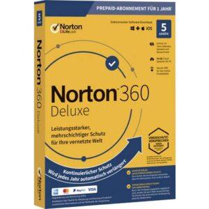 Norton Life Lock 360 DELUXE 50GB GE 1 USER 5 DEVICE 12MO Jahreslizenz, 5 Lizenzen Windows, Mac, Android Antivirus