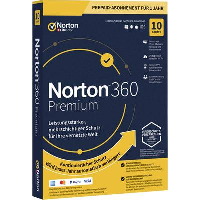 Norton Life Lock 360 PREMIUM 75GB GE 1 USER 10 DEVICE 12MO Jahreslizenz, 10 Lizenzen Windows, Mac, Android Antivirus