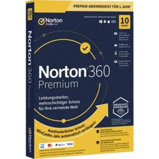 Norton Life Lock 360 PREMIUM 75GB GE 1 USER 10 DEVICE 12MO Jahreslizenz, 10 Lizenzen Windows, Mac, Android Antivirus