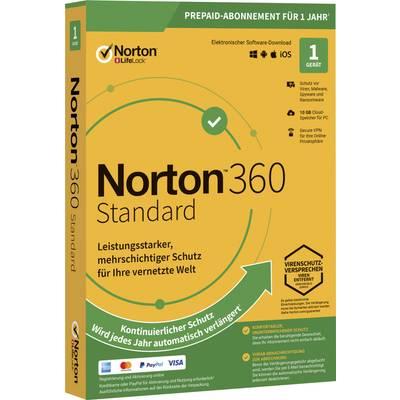 Norton Life Lock 360 STANDARD 10GB GE 1 USER 1 DEVICE 12MO Jahreslizenz, 1 Lizenz Windows, Mac, Android Antivirus