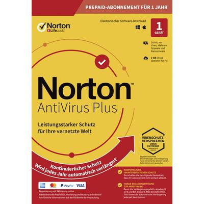 Norton Life Lock ANTIVIRUS PLUS 2GB GE 1 USER 1 DEVICE 12MO Jahreslizenz, 1 Lizenz Antivirus