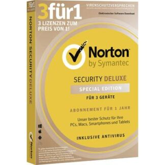 Norton Symantec 3für1 Vollversion, 3 Lizenzen Windows, Mac, iOS, Android Sicherheits-Software