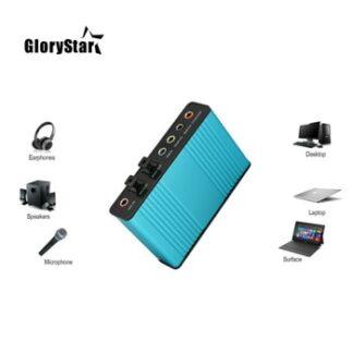 Professional USB Sound Card 6 Channel 5.1 Optical External Audio Card Converter CM6206 Chipset for Laptop Desktop Microphone