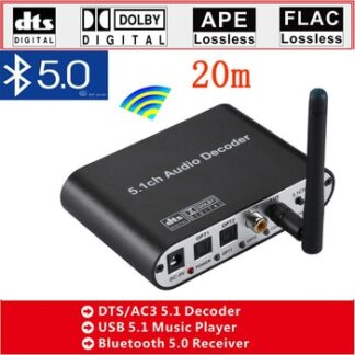 DAC615 DTS Digital 5.1 Audio Decoder Converter Gear DAC Bluetooth BT 5.0 US B Music Player SPDIF Optical Coxial input FLAC APE A