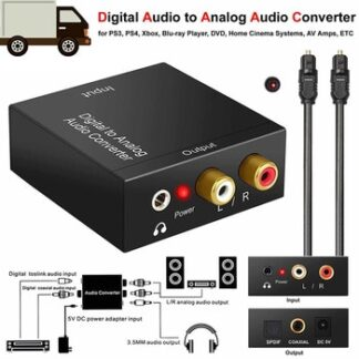 Protable 3.5mm Jack Coaxial Optical Fiber Digital to Analog Audio AUX RCA L/R Converter SPDIF Digital Audio Decoder Amplifier