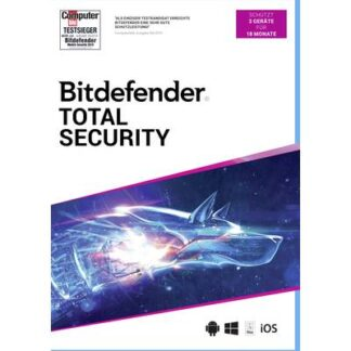 BitDefender Total Security 2020 Vollversion, 3 Lizenzen Windows, Mac, Android, iOS Antivirus, Sicherheits-Software