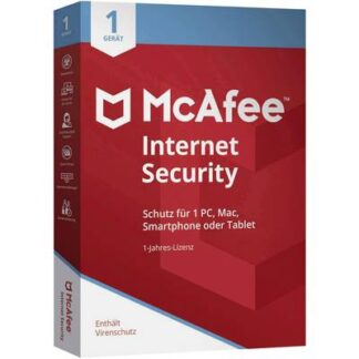 McAfee Internet Security 1 Device (Code in a Box) 2020 Vollversion, 1 Lizenz Windows, Mac, Android, iOS Antivirus,