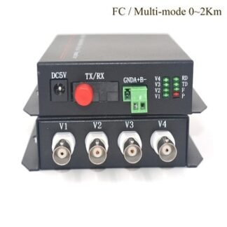 4CH Video Fiber optic Media Converter (Tx / Rx) - Multi mode 2Km Transmitter Receiver for Security System CCTV