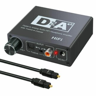 32-192KHz DAC Digital Coaxial to Analog R/L RCA 3.5mm Jack HiFi Audio Converter Adapter for Tos-link