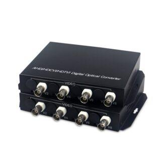 4-CH HD Video AHD CVI TVI Fiber optical Converter with reverse RS485 data to single-mode single fiber 10KM 1080P