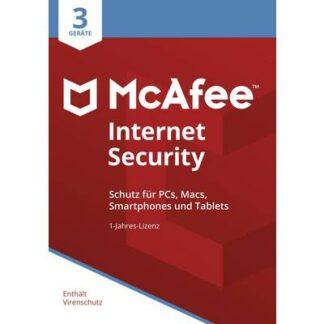 McAfee Internet Security 3 Device 2021 (Code in a Box) Jahreslizenz, 3 Lizenzen Windows, Mac, Android, iOS Antivirus,