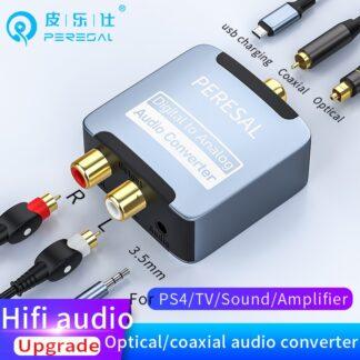 PERESAL Coaxial Optical Fiber Digital to Analog Audio AUX RCA L/R Converter SPDIF Digital Audio Decoder Amplifier For TV/PS4