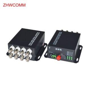 ZHWCOMM 1Pair 8V Fiber Optic Video Optical Transmitter Single mode SIngle fiber 8 Channel Video Optical Converter