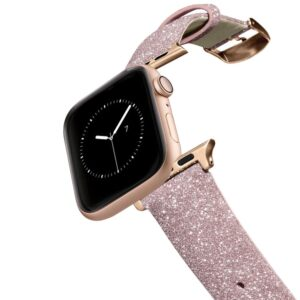 iPhone 7 Plus/7/6 Plus/6/5/5s/5c Case - Casetify Glitter Watchband 38/40mm - Pink w/Gold buckle & adaptor
