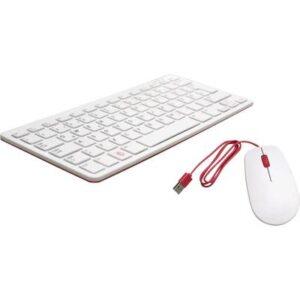 Raspberry Pi® USB Tastatur, Maus-Set Deutsch, QWERTZ, Windows® Weiß, Rot