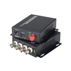 1Pair 4V Fiber Optic Video/Audio/Data Optical Transmitter Single mode fiber 4Channel digital fiber video audio data converter