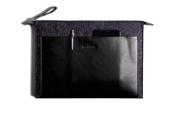 Folio Macbook Leather & Felt Sleeve   Harber London