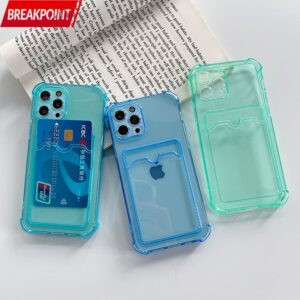 Soft Sublimation Blanks Transparent Phone Case With Bank Credit Card Holder For iPhone 7 8 Plus Se 2020 X Xr Xs 11 12 Pro Max