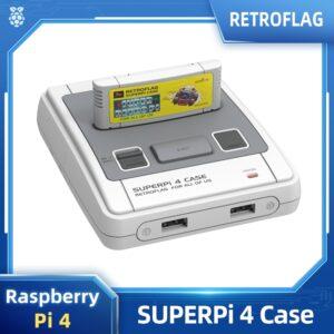 Retroflag SUPERPi 4 Case for Raspberry Pi 4 Case J with Cartridge Safe Shutdown Reset Shell Box for Pi 4 Model B Optioal Gamepad
